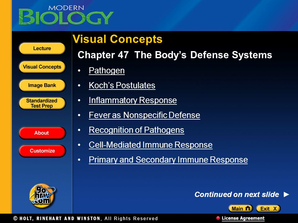 Visual Concepts Chapter 47 The Body's Defense Systems Pathogen
