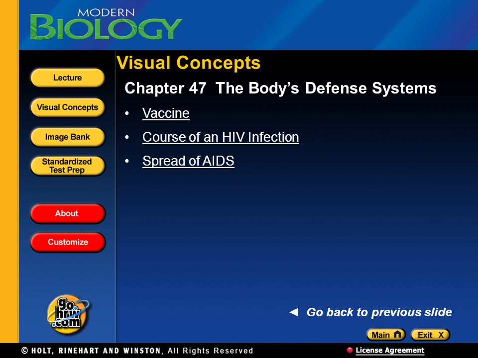 Visual Concepts Chapter 47 The Body's Defense Systems Vaccine