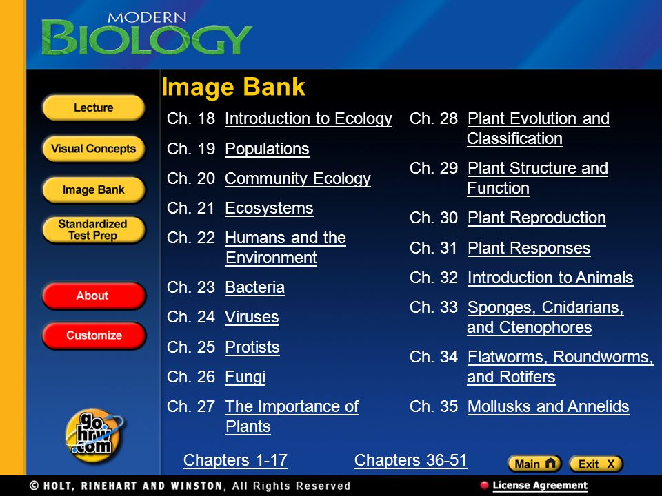 Image Bank Ch. 18 Introduction to Ecology Ch. 19 Populations