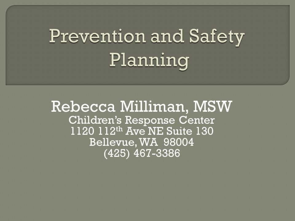 Prevention and Safety Planning