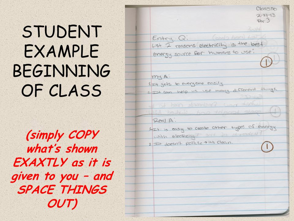 STUDENT EXAMPLE BEGINNING OF CLASS