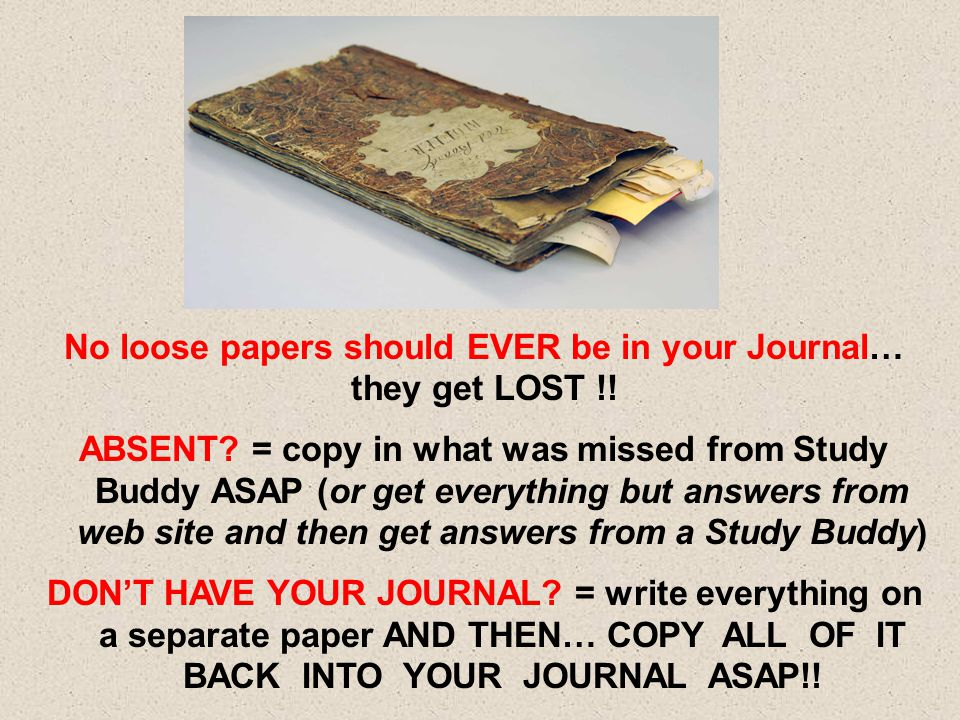 No loose papers should EVER be in your Journal…