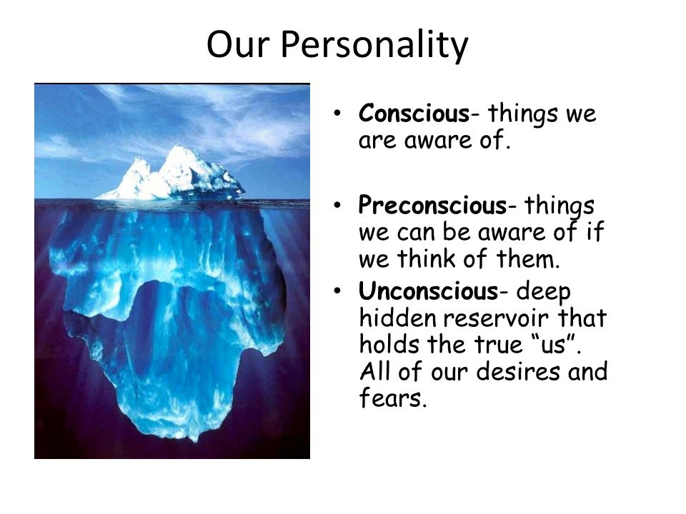 Our Personality Conscious- things we are aware of.