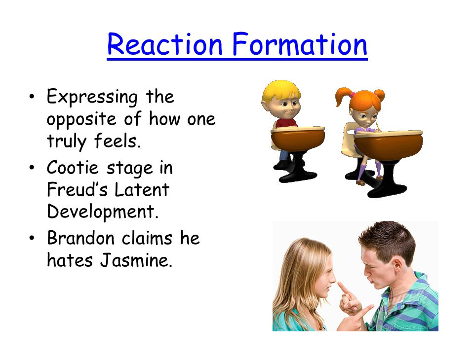 Reaction Formation Expressing the opposite of how one truly feels.