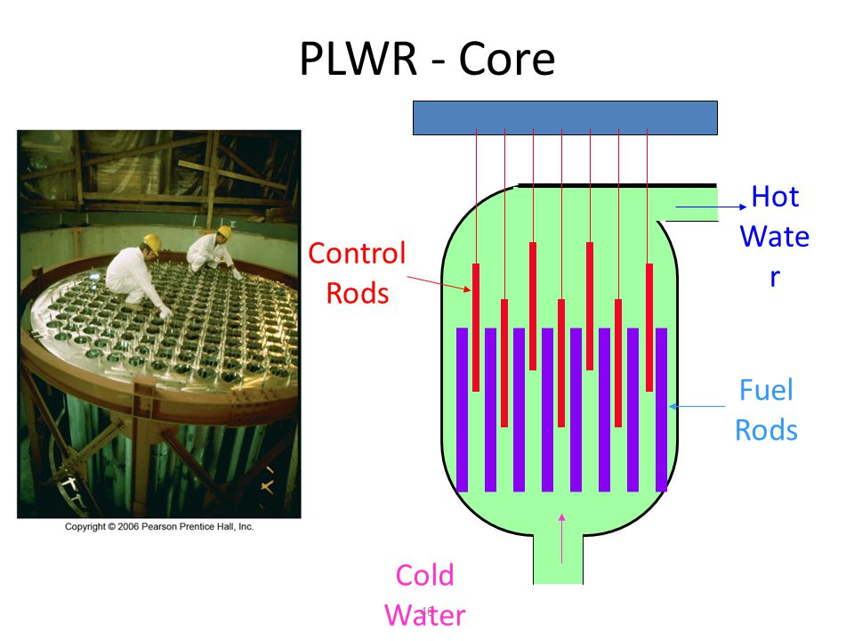 PLWR - Core Hot Water Control Rods Fuel Rods Cold Water