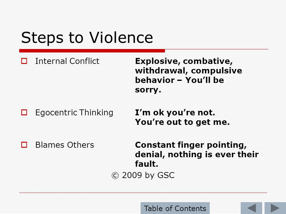 Steps to Violence