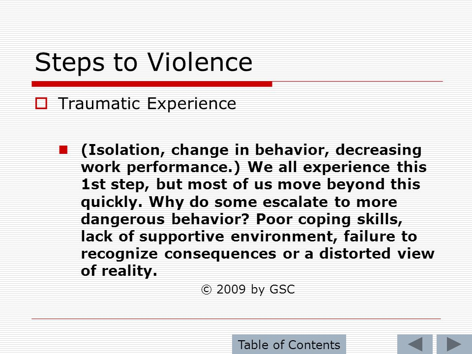 Steps to Violence Traumatic Experience