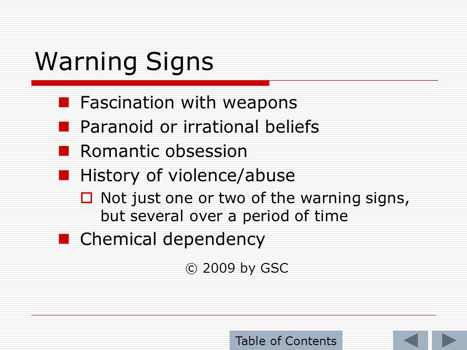 Warning Signs © 2009 by GSC Fascination with weapons