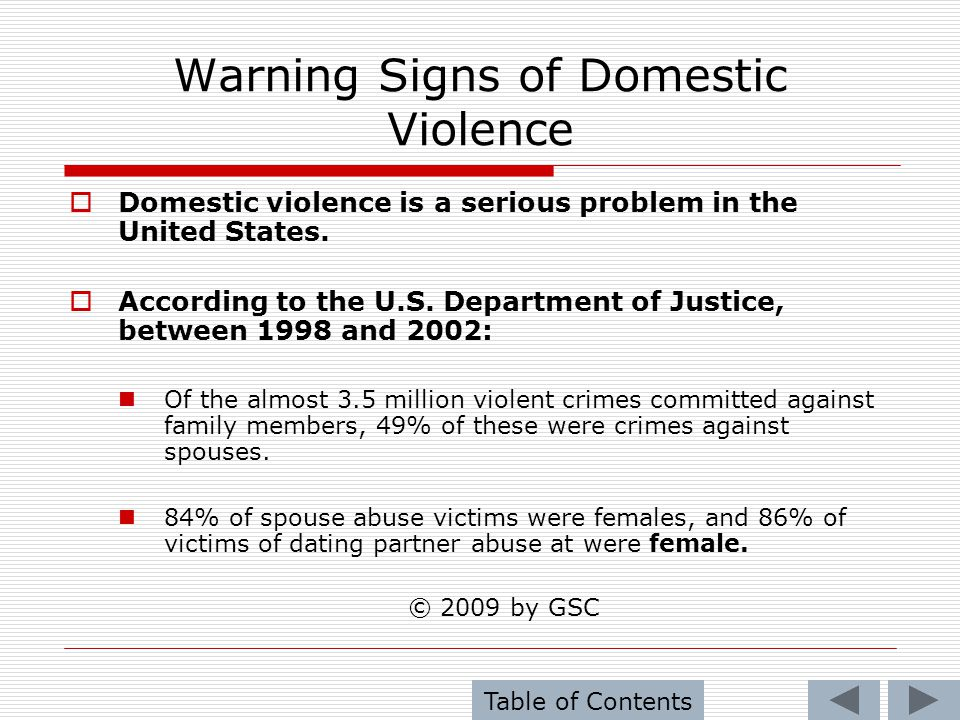 Warning Signs of Domestic Violence