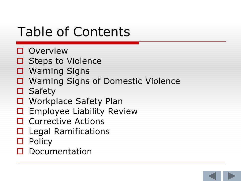 Table of Contents Overview Steps to Violence Warning Signs
