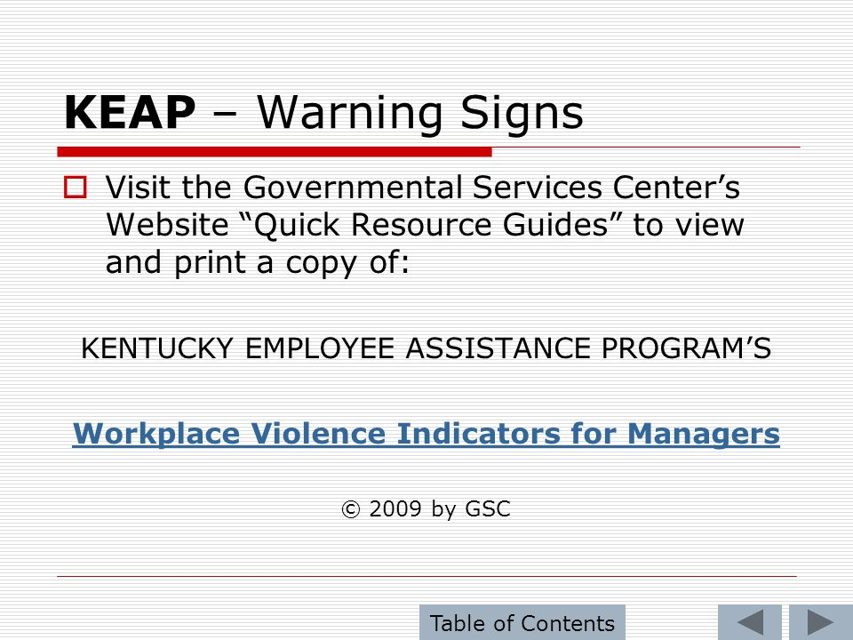 Workplace Violence Indicators for Managers