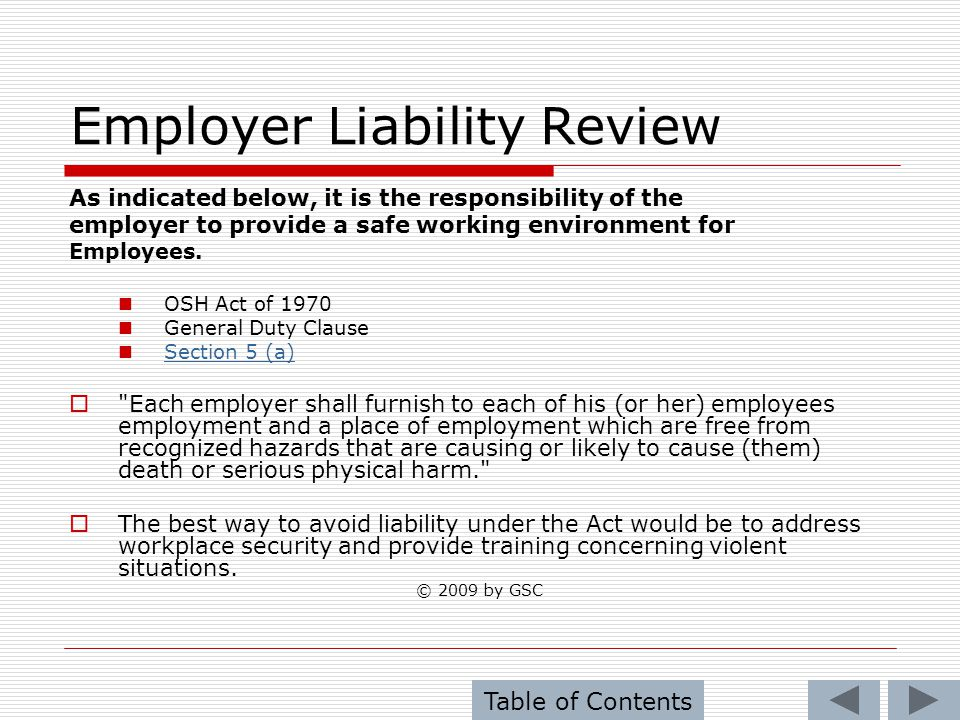 Employer Liability Review