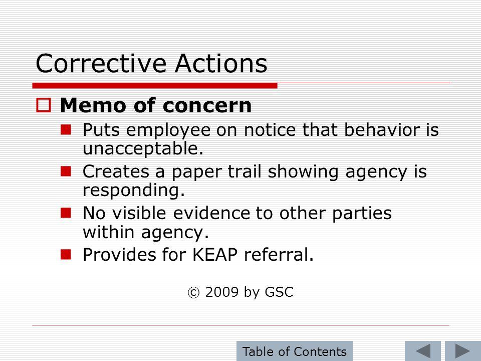 Corrective Actions Memo of concern
