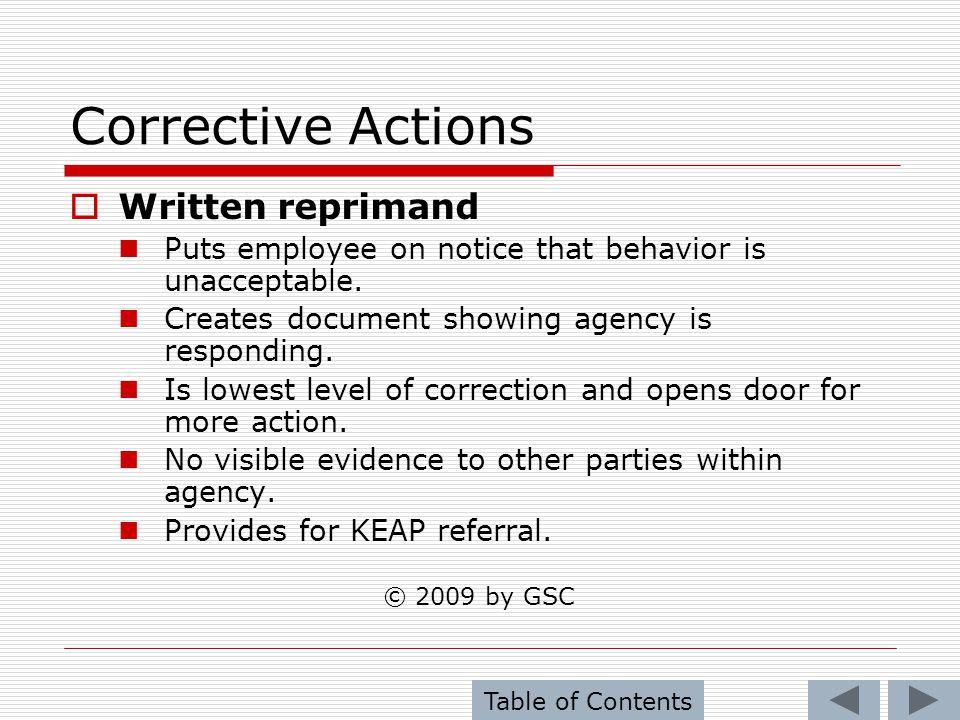 Corrective Actions Written reprimand