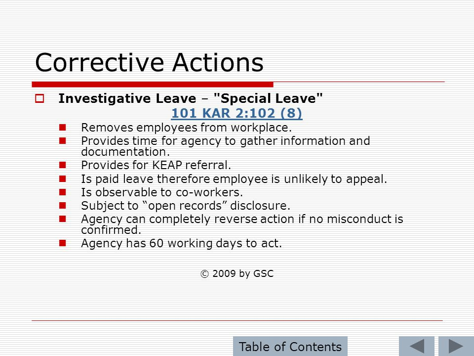 Corrective Actions Investigative Leave – Special Leave