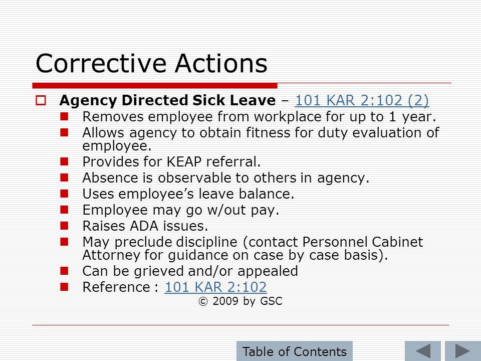 Corrective Actions Agency Directed Sick Leave – 101 KAR 2:102 (2)