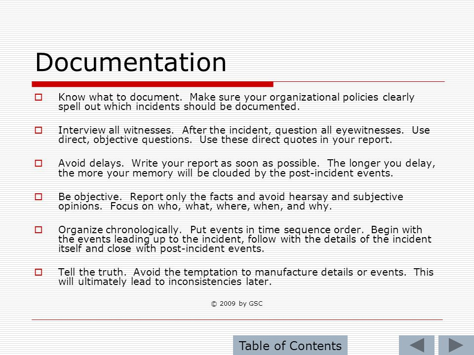 Documentation Table of Contents