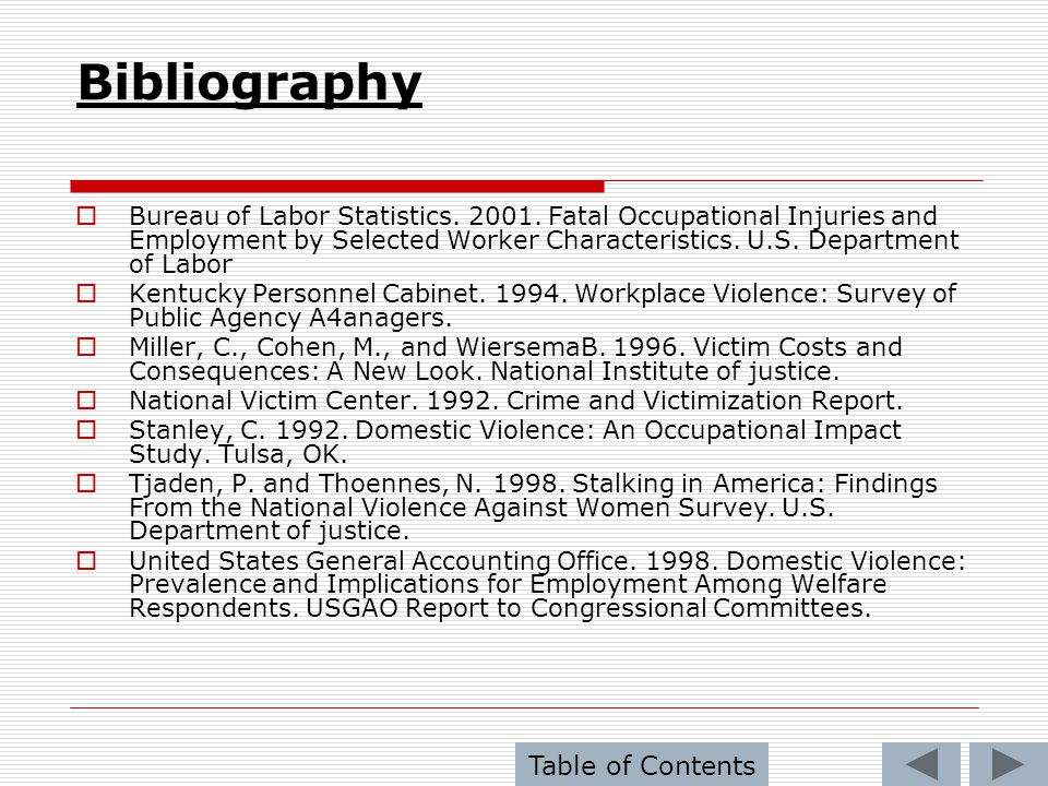Bibliography Table of Contents