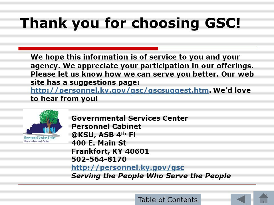 Thank you for choosing GSC!