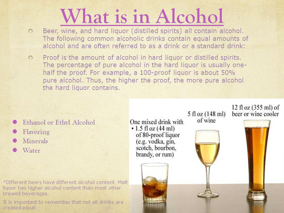 What is in Alcohol Ethanol or Ethyl Alcohol Flavoring Minerals Water
