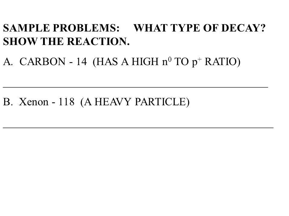 SAMPLE PROBLEMS: WHAT TYPE OF DECAY SHOW THE REACTION.