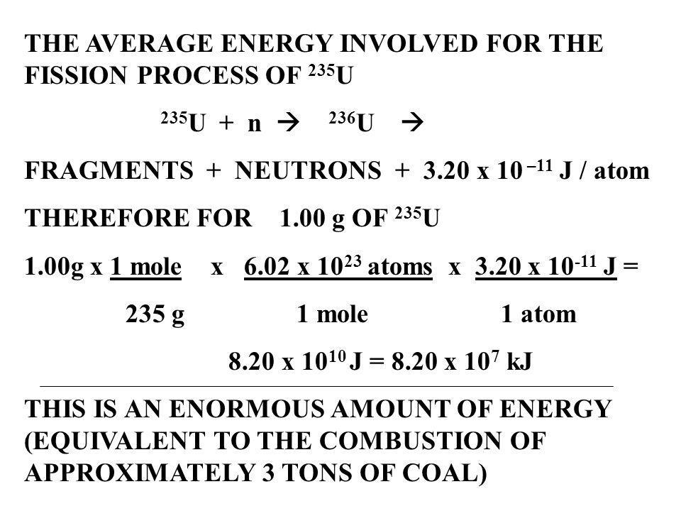 THE AVERAGE ENERGY INVOLVED FOR THE FISSION PROCESS OF 235U