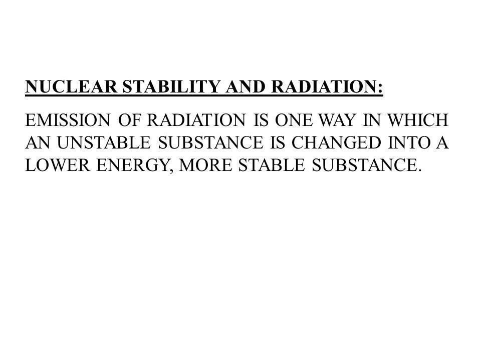 NUCLEAR STABILITY AND RADIATION:
