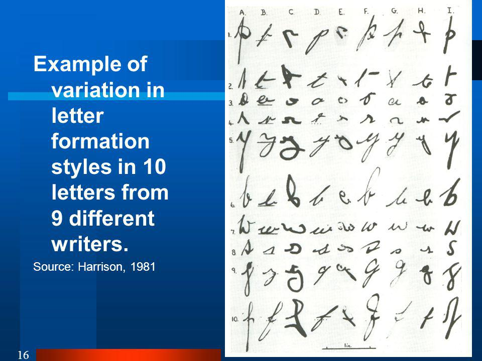 Example of variation in letter formation styles in 10 letters from 9 different writers.