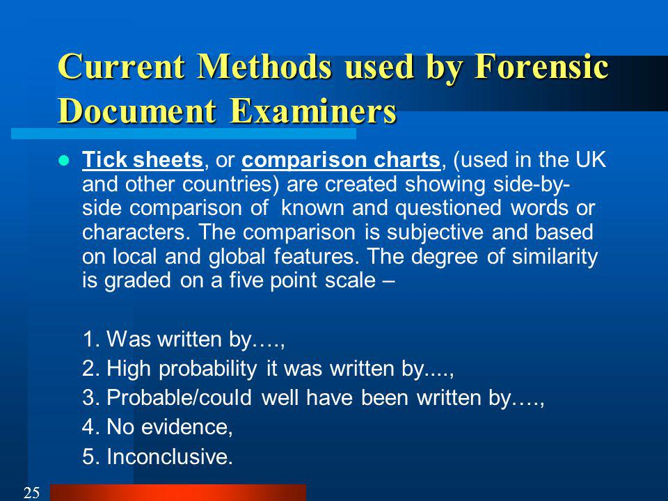 Current Methods used by Forensic Document Examiners
