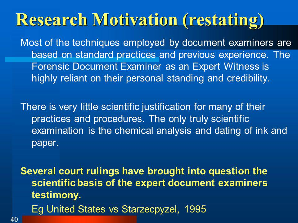 Research Motivation (restating)