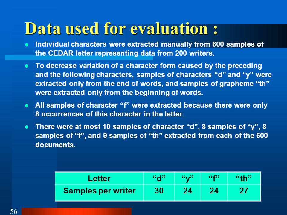 Data used for evaluation :