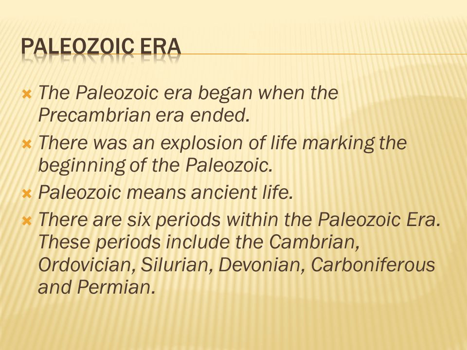 Paleozoic Era The Paleozoic era began when the Precambrian era ended.