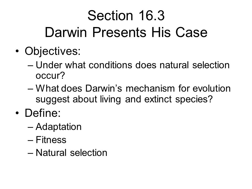 Section 16.3 Darwin Presents His Case