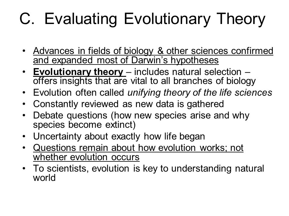 C. Evaluating Evolutionary Theory
