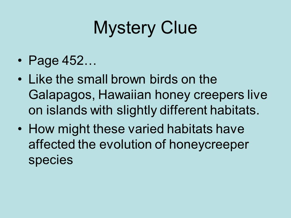 Mystery Clue Page 452… Like the small brown birds on the Galapagos, Hawaiian honey creepers live on islands with slightly different habitats.