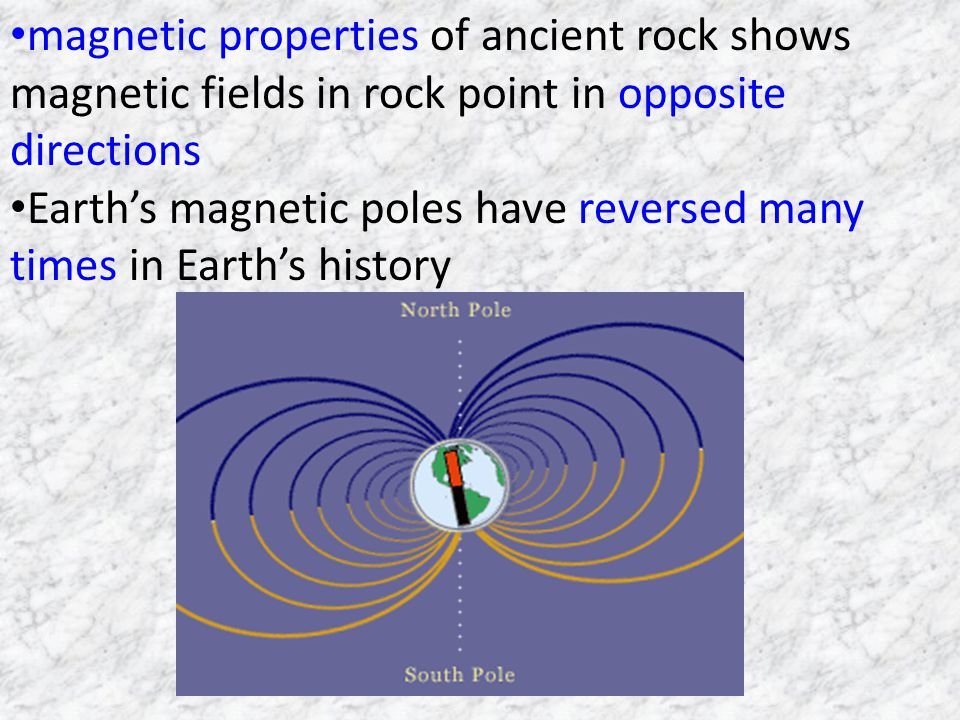 magnetic properties of ancient rock shows magnetic fields in rock point in opposite directions