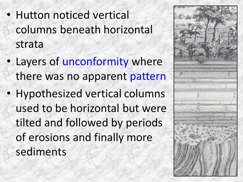 Hutton noticed vertical columns beneath horizontal strata