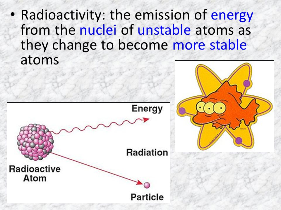 Radioactivity: the emission of energy from the nuclei of unstable atoms as they change to become more stable atoms