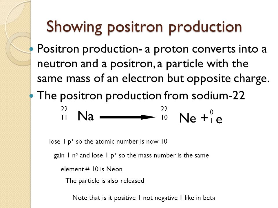 Showing positron production