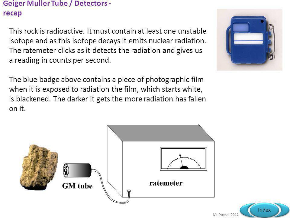 Geiger Muller Tube / Detectors - recap