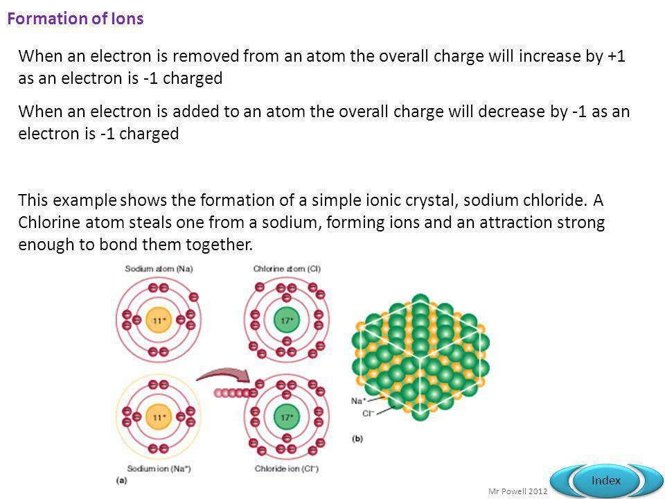 Formation of Ions When an electron is removed from an atom the overall charge will increase by +1 as an electron is -1 charged.