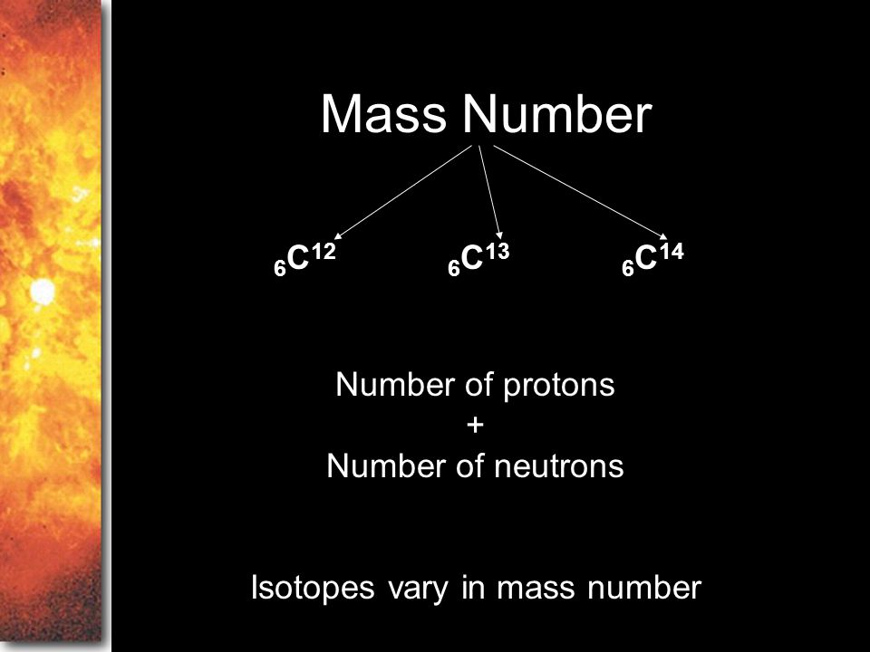 Isotopes vary in mass number