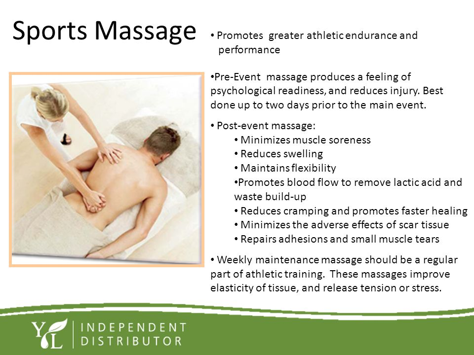 Sports Massage Promotes greater athletic endurance and performance