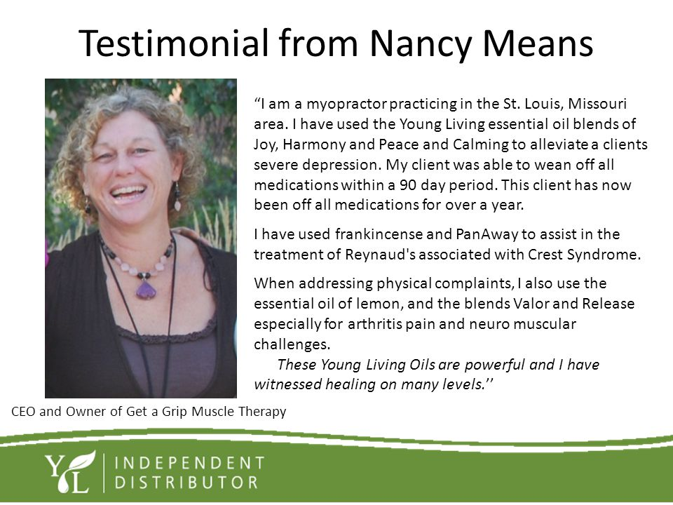 Testimonial from Nancy Means
