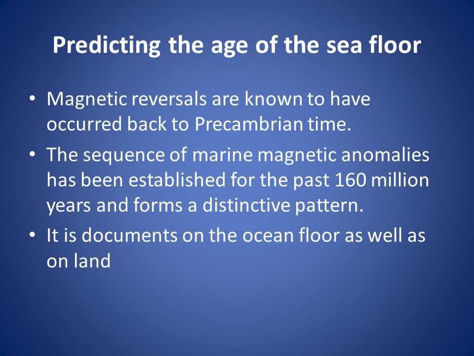 Predicting the age of the sea floor