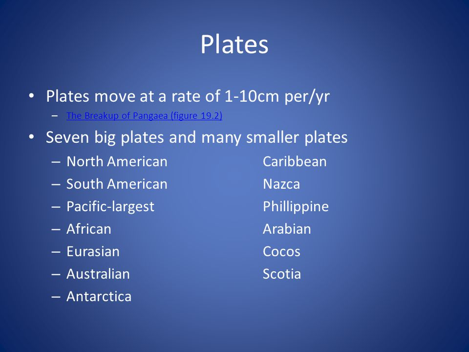 Plates Plates move at a rate of 1-10cm per/yr