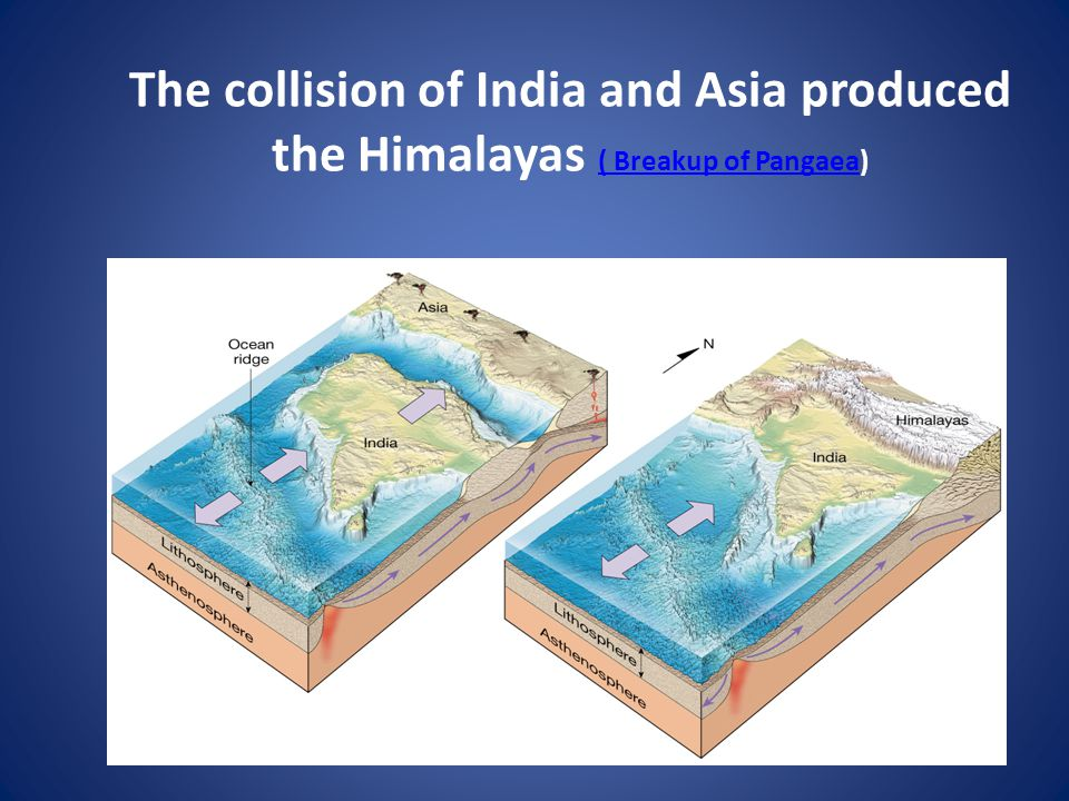 The collision of India and Asia produced the Himalayas ( Breakup of Pangaea)