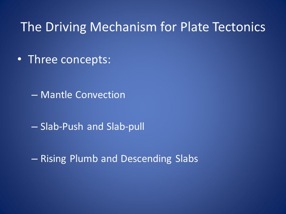 The Driving Mechanism for Plate Tectonics