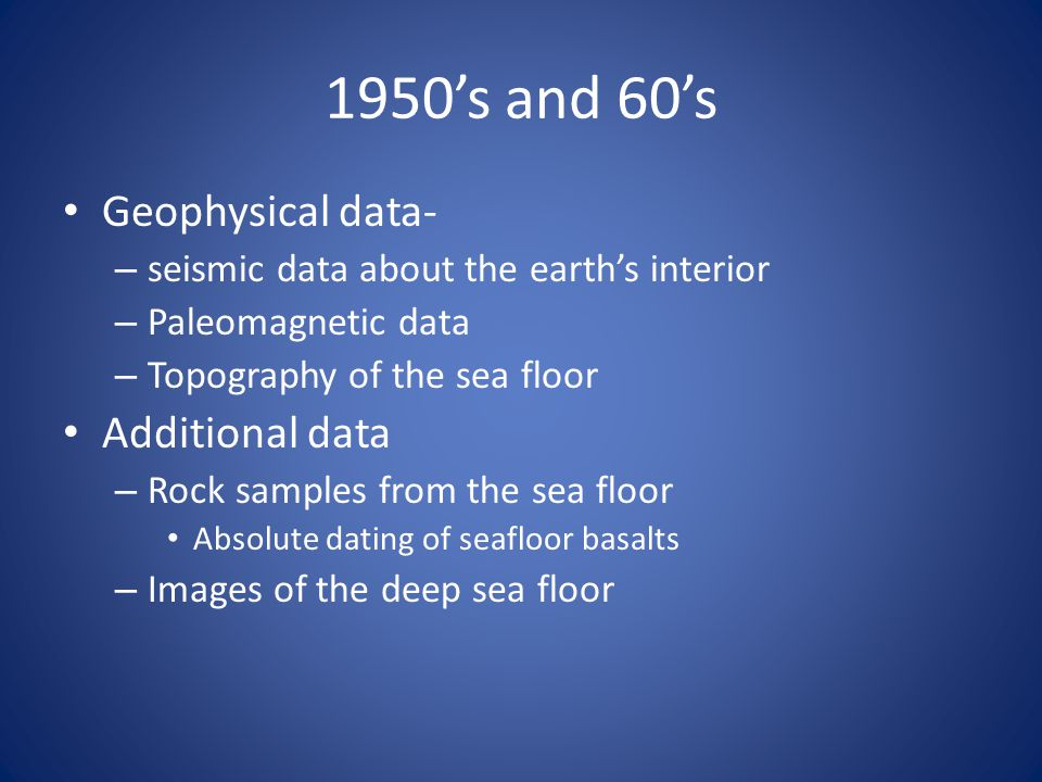 1950's and 60's Geophysical data- Additional data