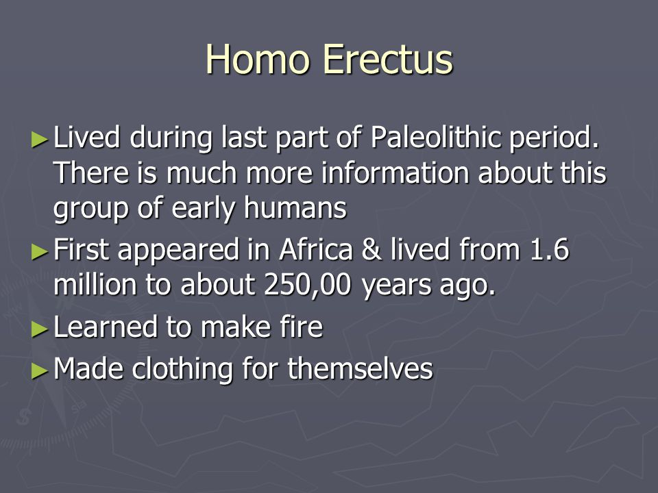 Homo Erectus Lived during last part of Paleolithic period. There is much more information about this group of early humans.
